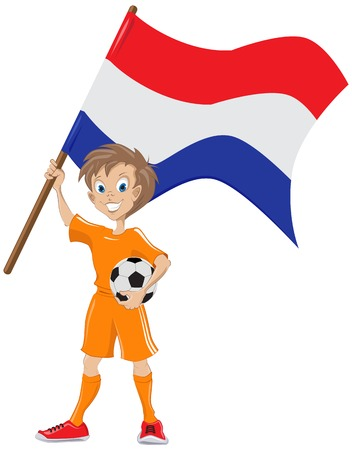 teeny: Happy soccer fan holds Netherlands flag   Illustration in vector format