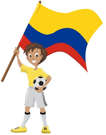 Happy soccer fan holds Colombian flag  Vector cartoon Vector