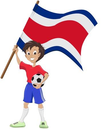 teeny: Happy soccer fan holds Costa Rica flag   Illustration in vector format