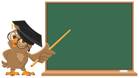 Owl teacher holding pointer at blackboard  Vector cartoon