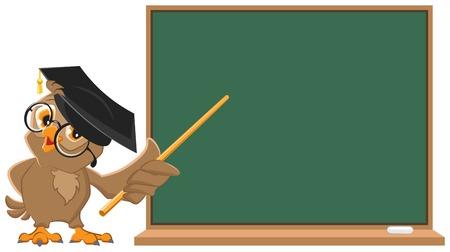 Owl teacher holding pointer at blackboard  Vector cartoon