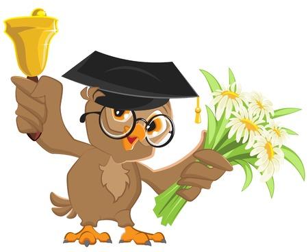 Owl teacher rings the bell and holding flowers. Vector cartoon