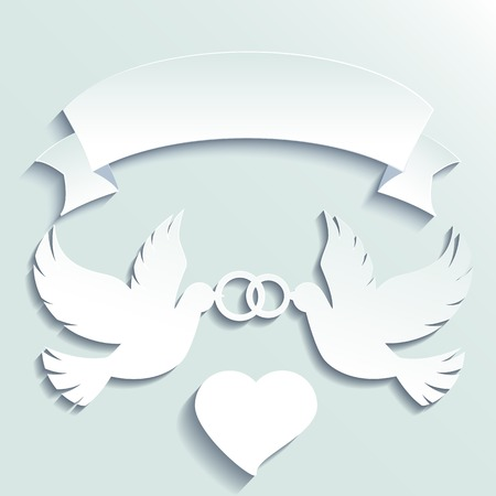 two: Doves holding wedding rings. Vector cartoon illustration