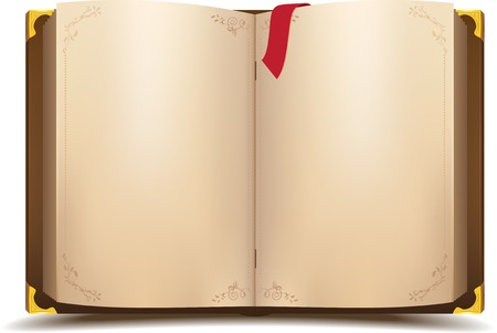 Old open magic book. Vector cartoon illustration Vector