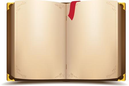 Oude open magische boek. Vector cartoon illustratie
