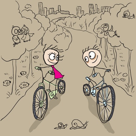 cartoon snail: Loving couple man and woman on bicycles. Vector cartoon illustration