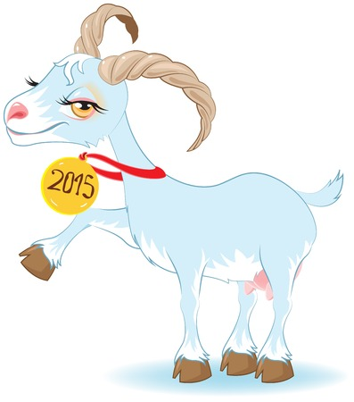Blue Goat, Symbol 2015. Vector cartoon illustration Vector