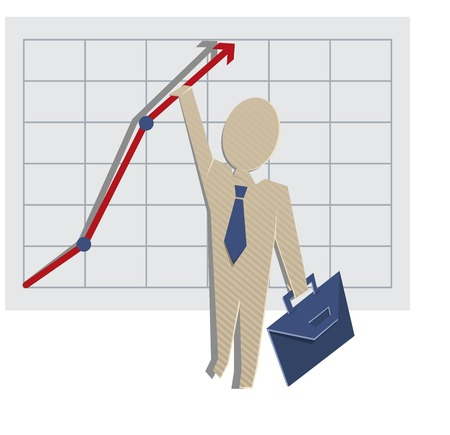 aloft: Business man holding on to a chart. Vector cartoon illustration Illustration