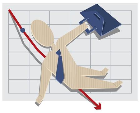 stockholder: Business man falls from the chart. Vector cartoon