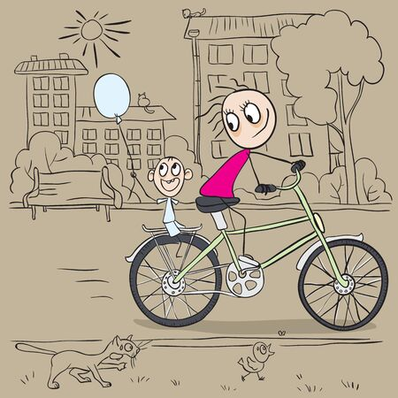 Mother and child riding a bicycle. Vector cartoon illustration Vector