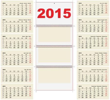 2015 Quarterly Calendar Template Royalty Free Cliparts Vectors