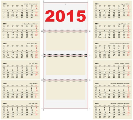 quarterly: 2015 Quarterly calendar template. Illustration
