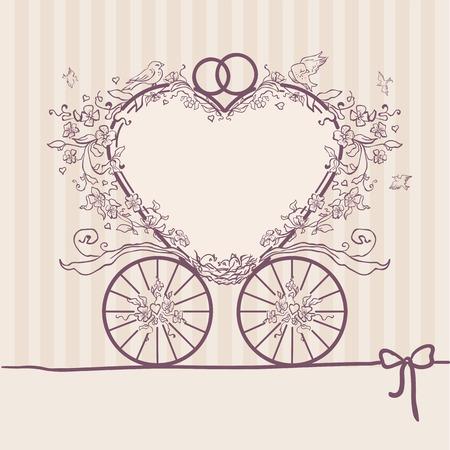 Huwelijksuitnodiging coach. Stockfoto - 30136835