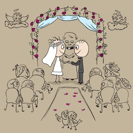 Wedding ceremony in church. Vector cartoon illustration