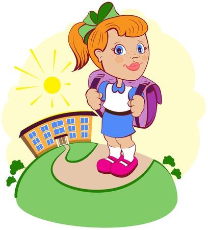 idzie: Dziewczyna idzie do szkoły. Wektor cartoon ilustracji