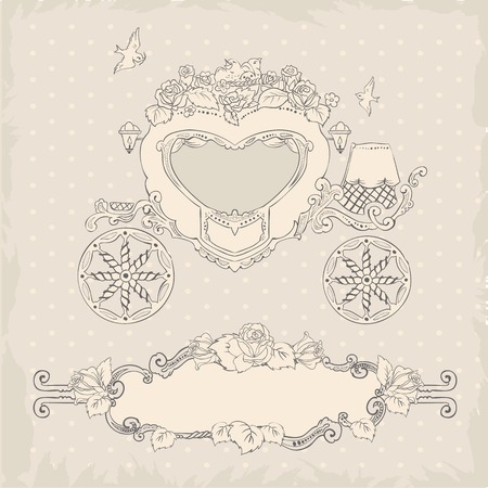 brougham: Coach. Template Wedding Invitation. Illustration in vector format