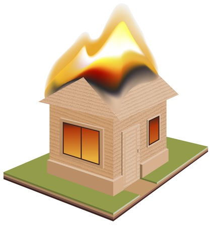arson: House is on fire. Need for insurance. Vector cartoon illustration
