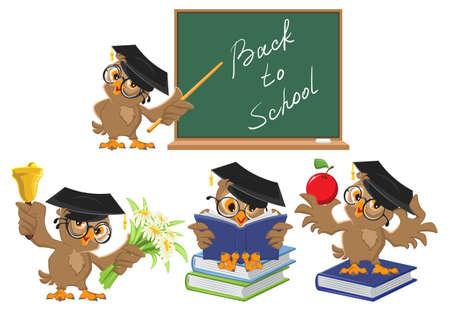 Set Owl teacher. Back to School. Vector cartoon