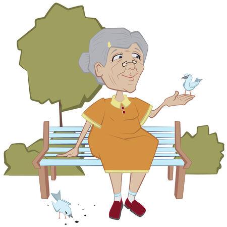 Grandmother on the bench feeding birds. Vector cartoon illustration Vector