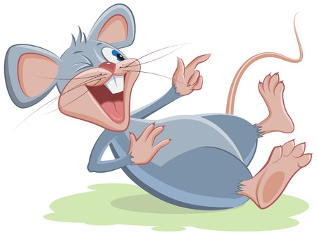 mouse: Gray mouse lies and laughs. Vector cartoon illustration