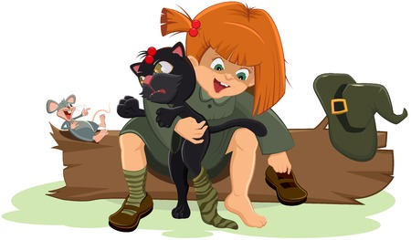 Girl witch puts a black cat. Illustration in vector format Vector
