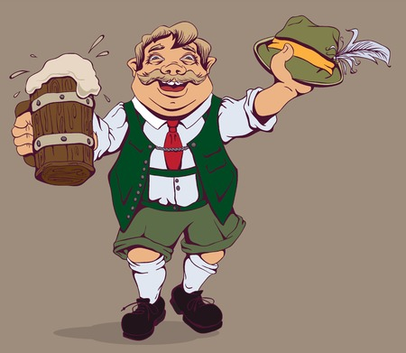 Drunk fat German with beer. cartoon illustration