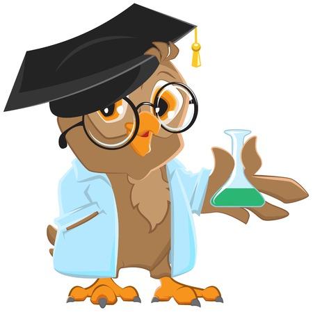 Owl teacher in a blue robe holding a flask. Vector cartoon illustration Stock Illustratie