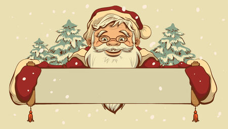 Santa Claus holding a banner. retro cartoon illustration Vector