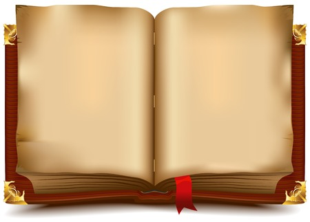 Staré otevřená kniha. Ilustrace ve vektorovém formátu