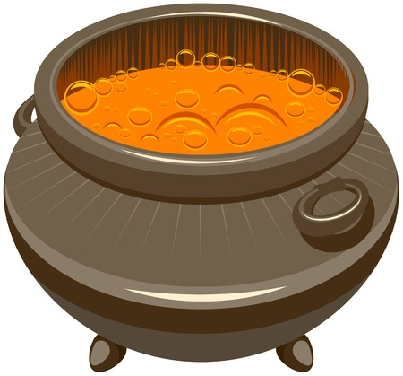Potion brewed and boiling in the cauldron. Illustration in vector format Stock Illustratie
