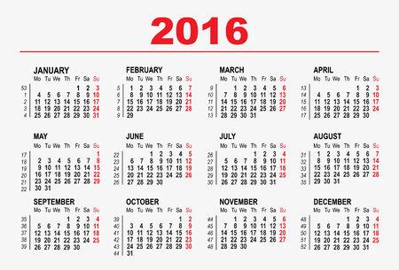 2016 calendar template. Illustration in vector format
