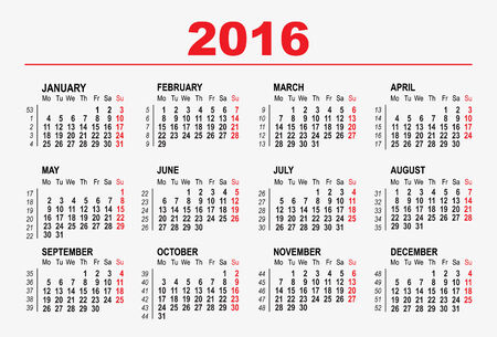 2016 modèle de calendrier. Illustration en format vectoriel Banque d'images - 31817063