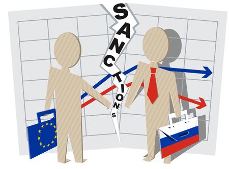Europe sanctions against Russia.  Stock Illustratie