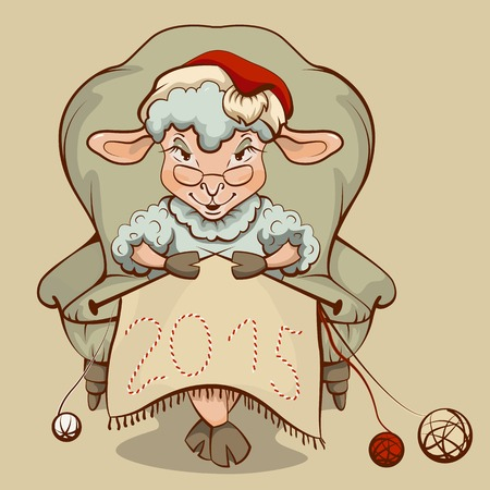 grandmamma: Christmas lamb sitting in a chair and knits symbol 2015.