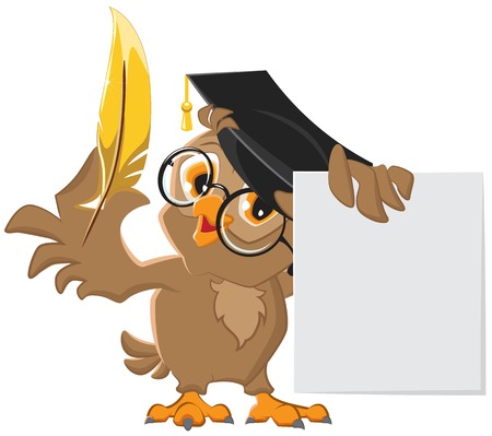 Wise owl holding a golden pen and a sheet of paper. Vector cartoon illustration Vectores