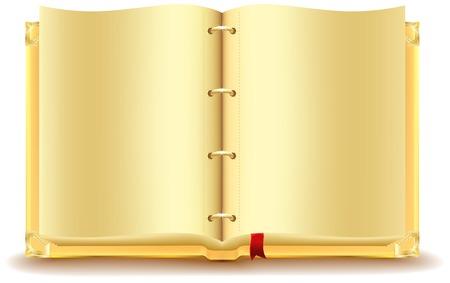 開かれた金の本。ベクトル形式のイラスト