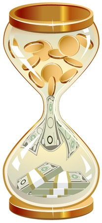 sand dollar: Time is money. Hourglass coins and notes. Illustration in vector format Illustration