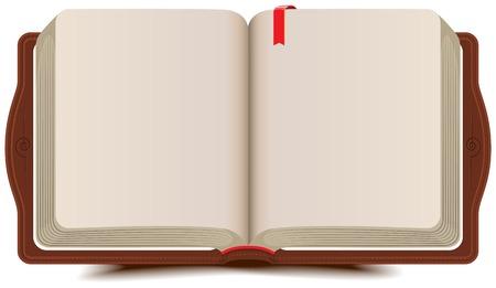 Ouvrir carnet de livre avec signet. Vector cartoon illustration Banque d'images - 32497534