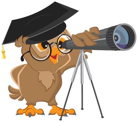 Astrónomo búho mirando a través de un telescopio. Ilustración vectorial de dibujos animados