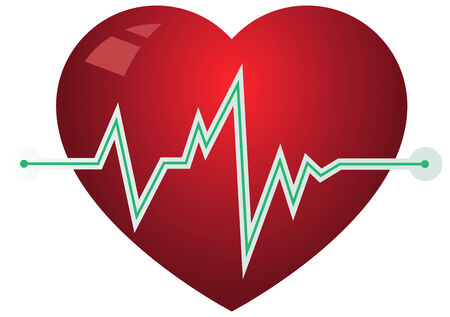 pulsating: Icon heart with pulse graph. Illustration in vector format Illustration