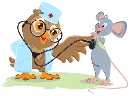 Owl doctor and patient mouse. Vector cartoon illustration Ilustracja