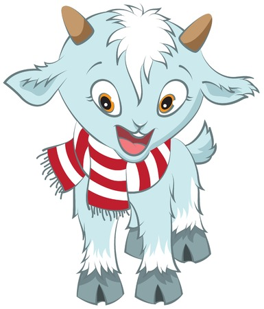 Christmas goat symbol 2015. Vector cartoon illustration Vector