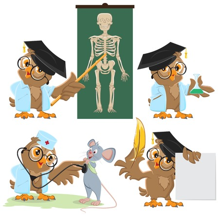 Set Owl doctor and mouse. Vector cartoon illustration Illustration