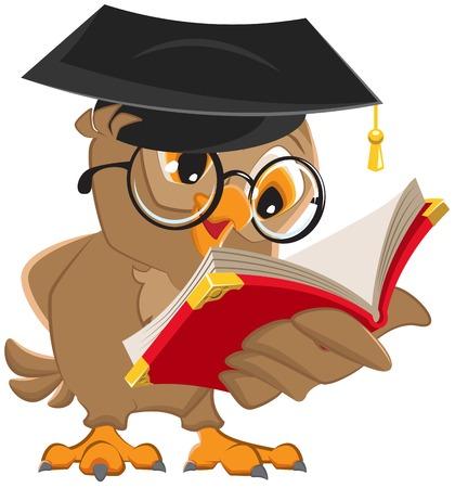 kapaklar: Baykuş bir kitap okuyor. Vektör karikatür illüstrasyon Çizim