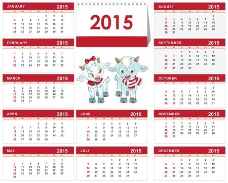 Template desk calendar for 2015. Two little kid. Illustration in vector format