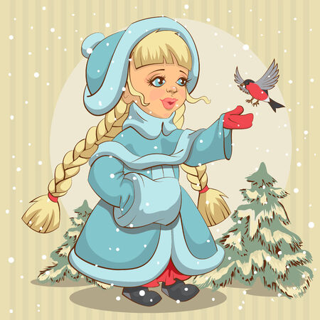 Snow Maiden in blue fur coat feeds bullfinch. Illustration in vector format