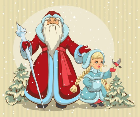 muff: Russian Santa Claus. Grandfather Frost and Snow Maiden. Christmas card. Illustration in vector format