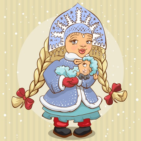 fur coat: Snow Maiden in blue fur coat holds a lamb. Illustration in vector format