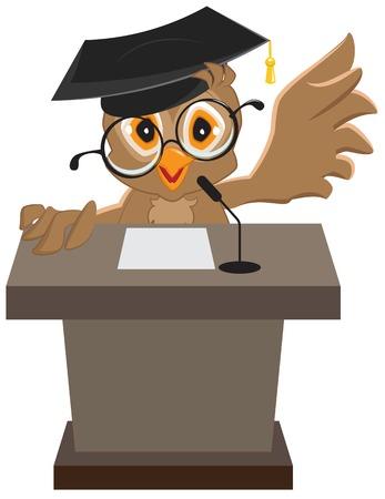 Owl speaker said on the podium. Illustration in vector format