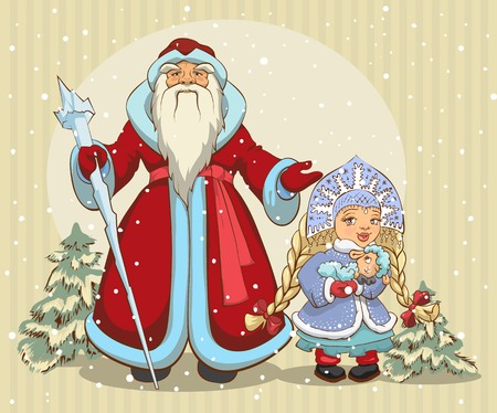 moroz: Russian Santa Claus. Grandfather Frost and Snow Maiden. Christmas card. Illustration in vector format